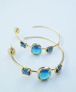 aros dorados piedras azules de anartxy