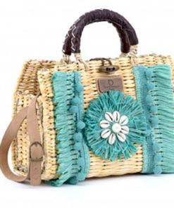 bolso maletin rafia turquesa