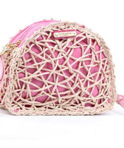 bolso pequeño rafia rosa