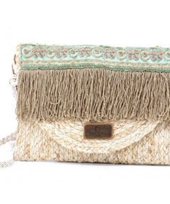clutch bordado turquesa