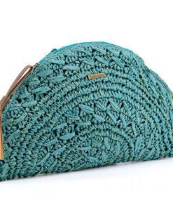 clutch medialuna turquesa