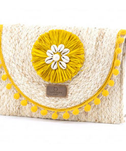 clutch rafia amarillo