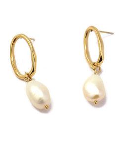 pendientes dorados perla colgando anartxy