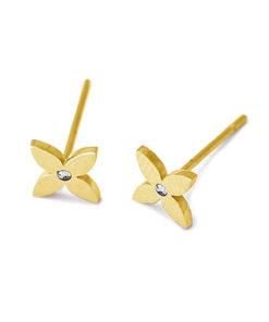 pendientes flor cuatro petalos dorados anartxy