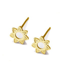 pendientes flor loto dorados anartxy