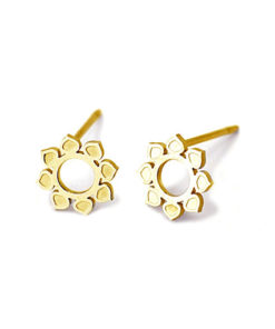 pendientes flor mandala dorado anartxy