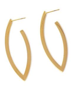 pendientes largos dorados forma hoja