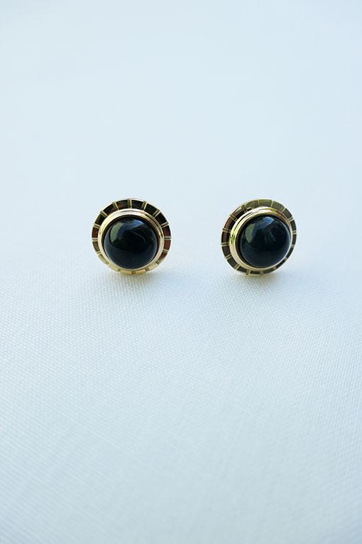 pendientes pequeños dorados bola negro de anartxy