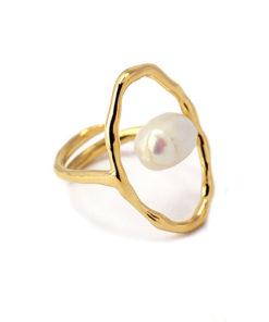 anillo dorado perla