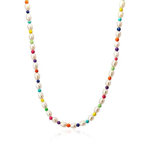 collar bolitas colores