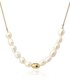 collar dorado perlas