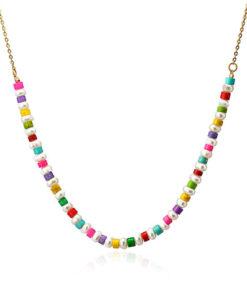 collar perlas cuentas colores