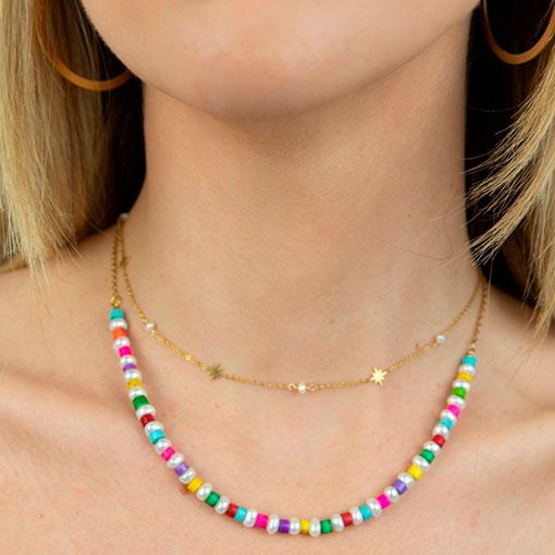 conjunto collares perlas colores
