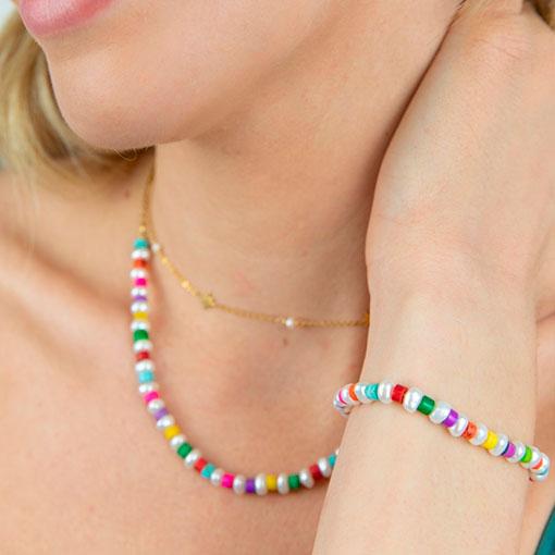 conjunto perlas cuentas colores