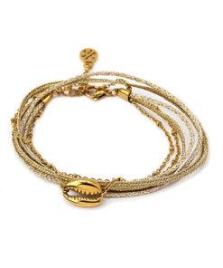 pulsera dorada concha