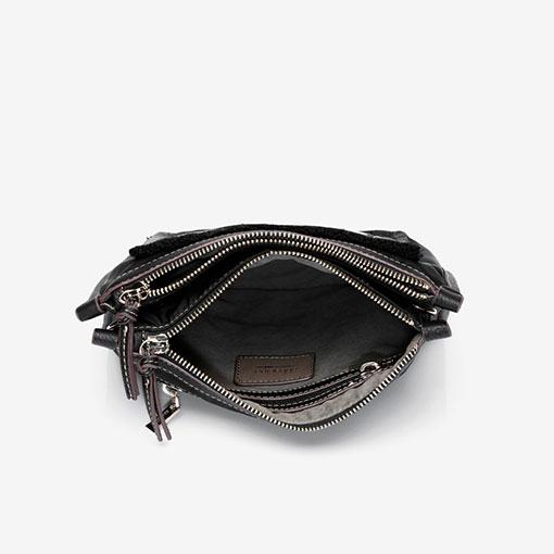 bolso bandolera de la marca abaccino en negro parte interior
