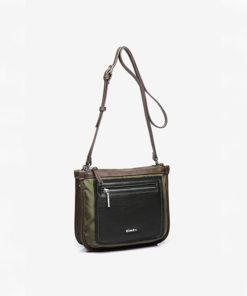 bolso bandolera de la marca abaccino con bolsillo en la parte delantera en color verde