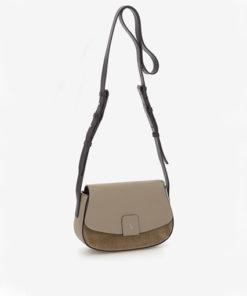 bolso bandolera con solapa de piel en camel de la marca abaccino