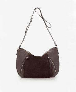 bolso bandolera de piel combinada en marron de la marca abaccino