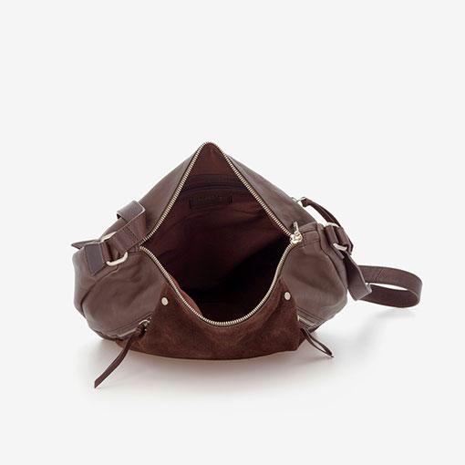 bolso bandolera de la marca abaccino de piel combinada en marrón por la parte interior