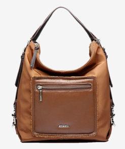 bolso hobo con asa convertible en mochila de la marca abaccino en color cuero por la parte delantera, con bolsillos exteriores