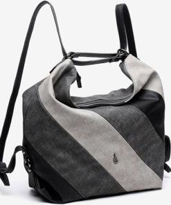 bolso hobo de la marca abaccino con cortes diagonales decorativos parte delantera con asa ajustable