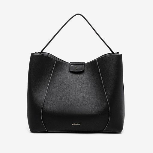 bolso hobo negro de la marca abaccino, clásico y perfecto para el día a día con asa de hombro por la parte delantera