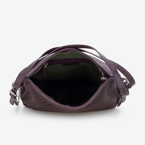 bolso hobo de piel de la marca abaccino convertible en mochila parte interior