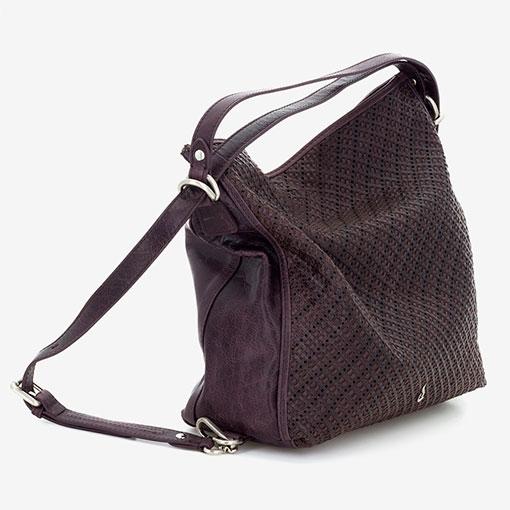 bolso hobo de piel de la marca abaccino convertible en mochila perfil
