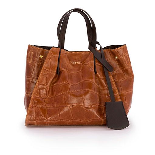 bolso saco de piel print coco en color cuero de la marca martina k
