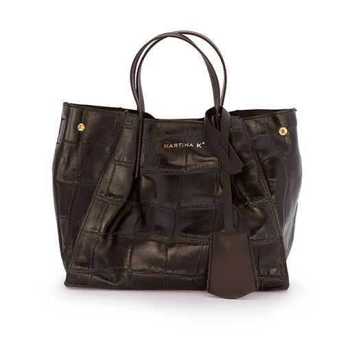 bolso saco piel print coco en color negro de la marca martina k