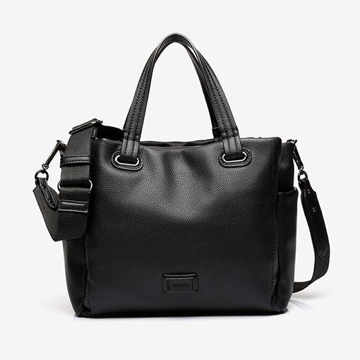 bolso shopping de la marca abaccino en negro con gran capacidad por su parte delantera
