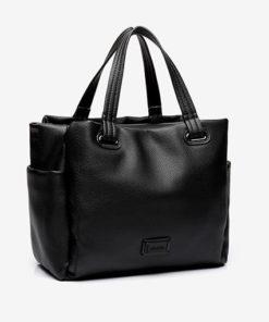 bolso shopping de la marca abaccino en negro de grandes capacidades con asas de hombro