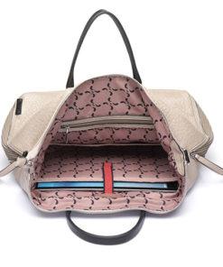 bolso trendy acuta de la marca abaccino en su interior, con bolsillo para ordenador.