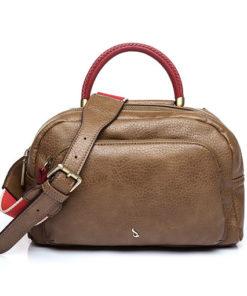 bolso trendy netta con detalles en color rojo, estilo bowling con bolsillo exterior con cremallera