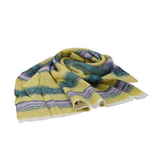 bufanda colorida con rayas horizontales en colores amarillos de la marca zarucho