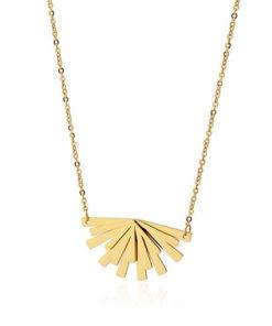 collar con forma de abanico en color dorado de la marca anartxy
