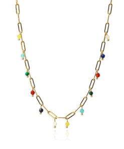 collar de cadena dorada con cuentas de colores de la marca anartxy