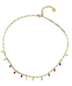 collar con cadena ajustable y dorada con cuentas de colores de la marca anartxy