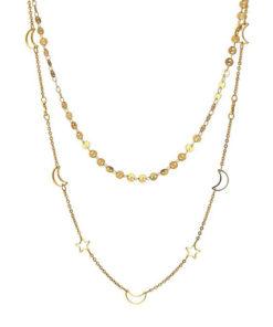 collar con doble cadena en color dorado de la marca anartxy