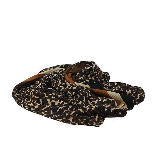 fular estampado leopardo de franjas en color marron