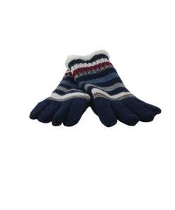 guantes de lana de la marca zarucho con estampado étnico en color azul