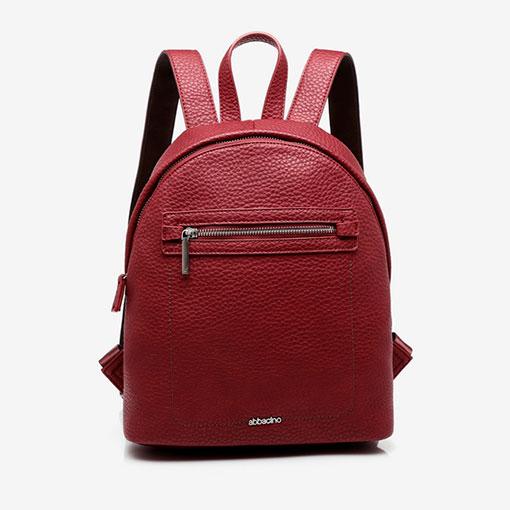 mochila con bolsillo delantero de la marca abaccino en color granate