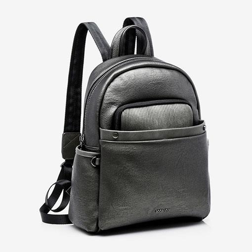 mochila metalizada de la marca abaccino en color plata delantera