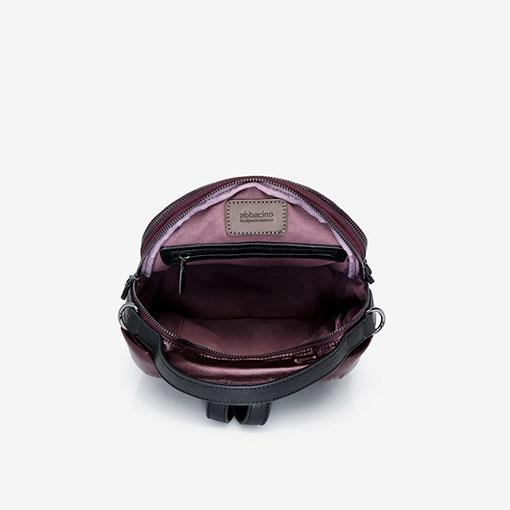 mochila de nylon de la marca abaccino parte interior en color granate