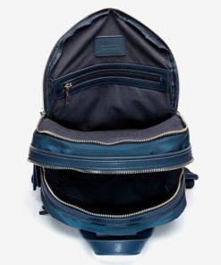 mochila de nylon de la marca abaccino en color azul parte interior