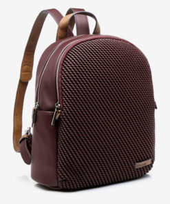 mochila clásica con panel acolchado en la parte delantera color granate de la marca abaccino