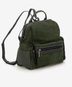 mochila de piel con serraje de la marca abaccino en color verde con asa larga extraible