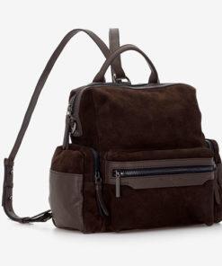 mochila de piel con serraje con asa larga y de mano de la marca abaccino