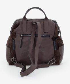 mochila de piel con serraje de la marca abaccino por la parte trasera